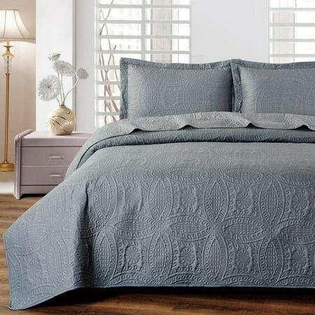 Mellanni Bedspread Coverlet Set Charcoal Comforter