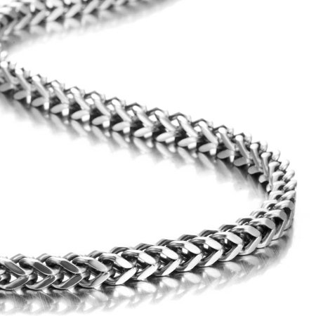 Stunning Mechanic Style Stainless Steel Silver Men's Necklace Link Chain - Length 22 Inch