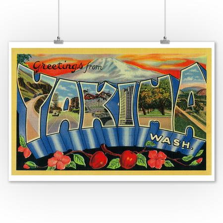 Greetings From Yakima Washington 9x12 Art Print Wall Decor Travel Poster