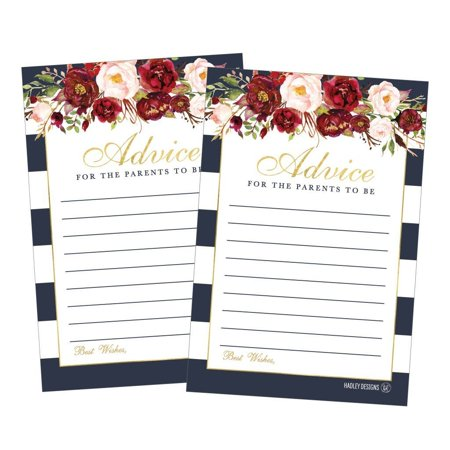 25 Floral New Mommy or Parent Advice Cards For Baby Shower Game Activities Ideas, Expecting Words of Wisdom Message for Parent To Be Boy Girl Co-Ed Couples Gender Reveal Keepsake - Baby Shoer Ideas