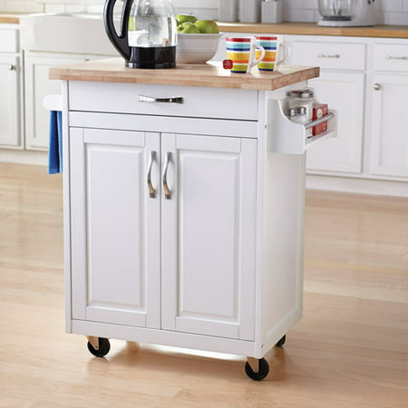 Mainstays Kitchen Island Cart, White (Furniture Kitchen Island Cart)