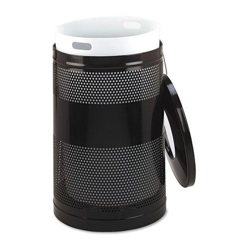 Classics Perforated Open Top Receptacle, Round, Steel, 51 gal, Black