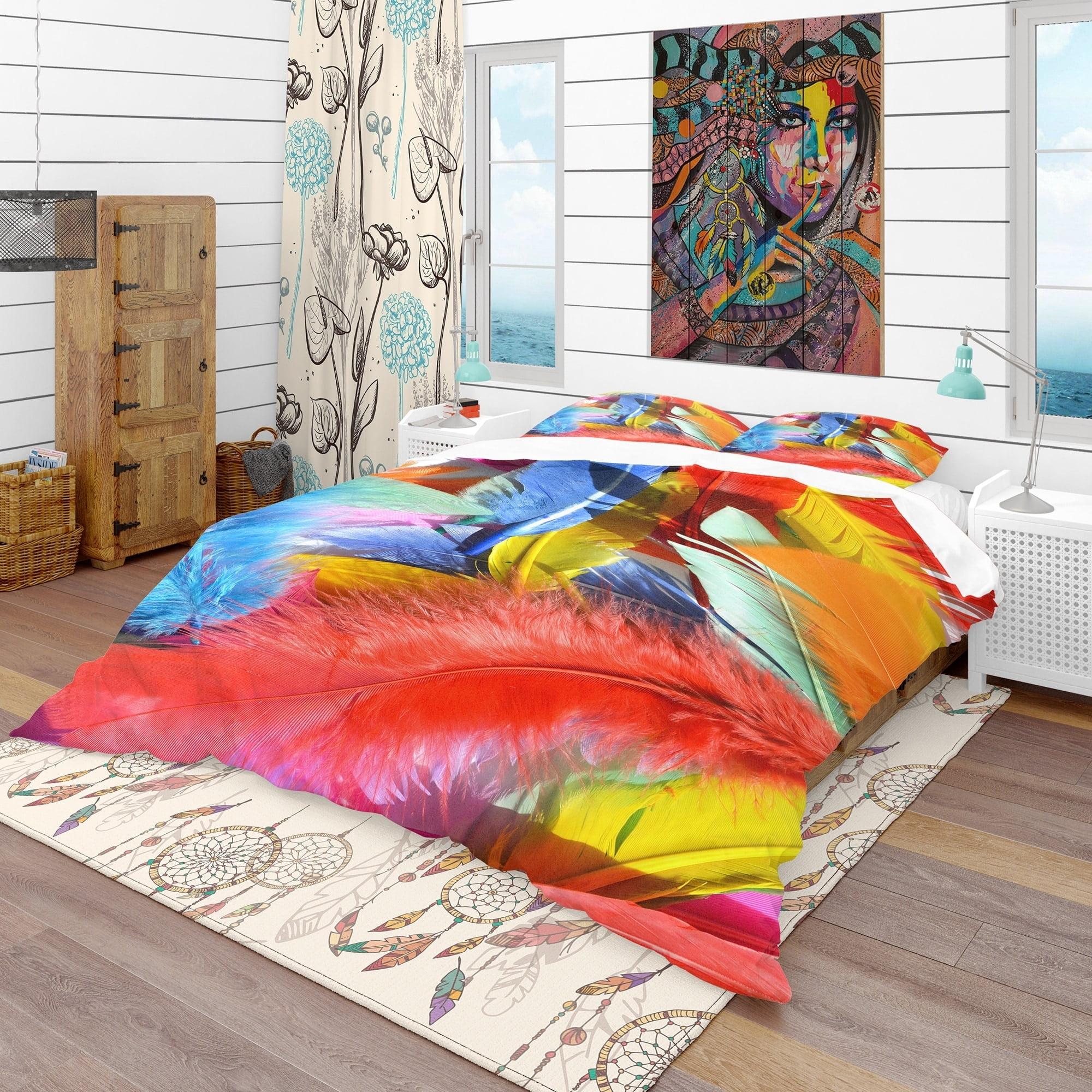 DESIGN ART Designart 'Feathers Texture' Southwestern Bedding Set - Duvet Cover & Shams