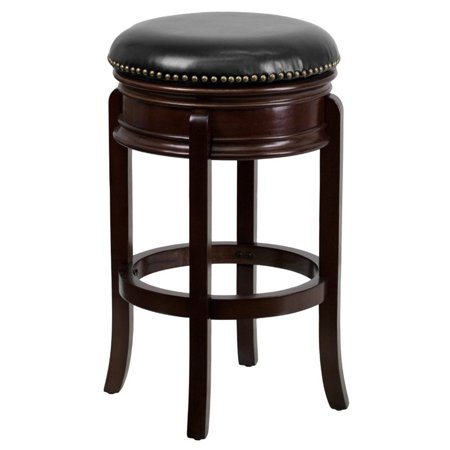 Flash Furniture 29 Backless Wood Bar Stool With Black Leather