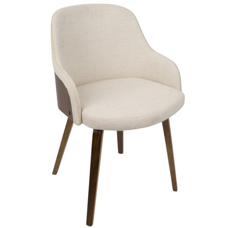 Bacci Mid-Century Modern Dining/ Accent Chair in Walnut Wood and Cream Fabric by LumiSource ()