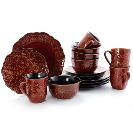 Gibson Milan Polina Rust Hue Stoneware 16 Piece Dinnerware Set with Complete Setting for 4 Brown 4 Piece Place Setting