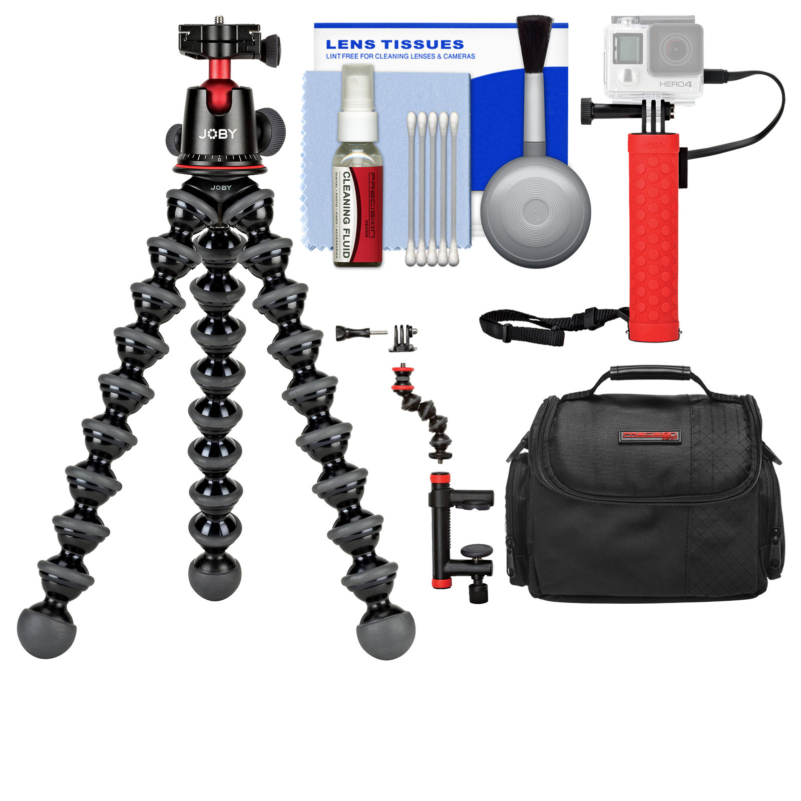 Joby GorillaPod 5K Flexible Tripod with Ball Head Kit + Case + Hand Grip + Action Camera Clamp + Kit