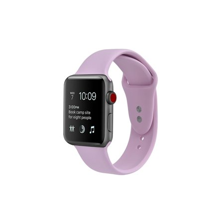 Apple Watch Soft Silicone Replacement Bands 40mm with Full Body Clear Hard Case Screen Protector Dual Locking Stud Wristband for iWatch Apple Watch Series 4 - Lavender