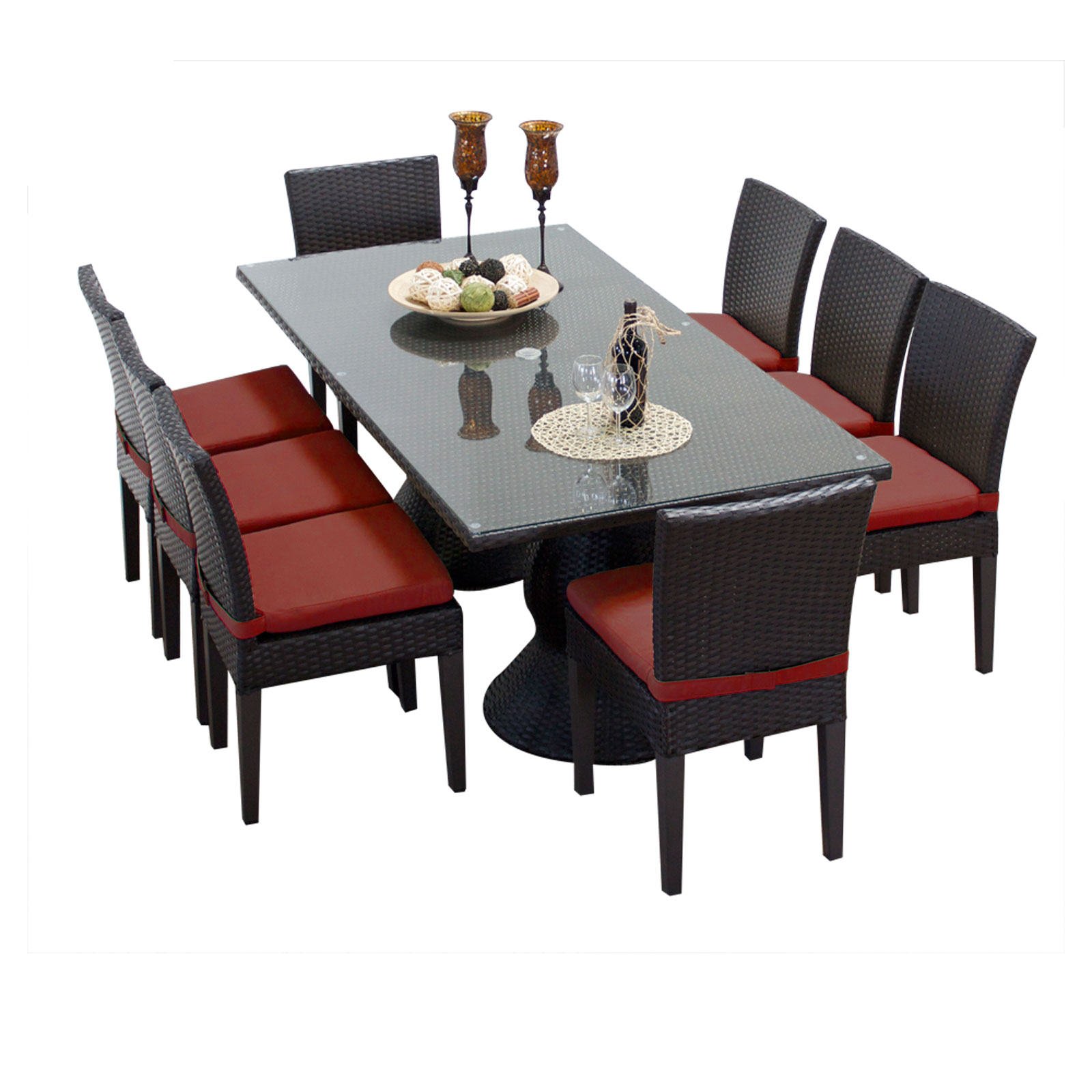 Saturn Rectangular Outdoor Patio Dining Table With 8 Chairs by TK Classics