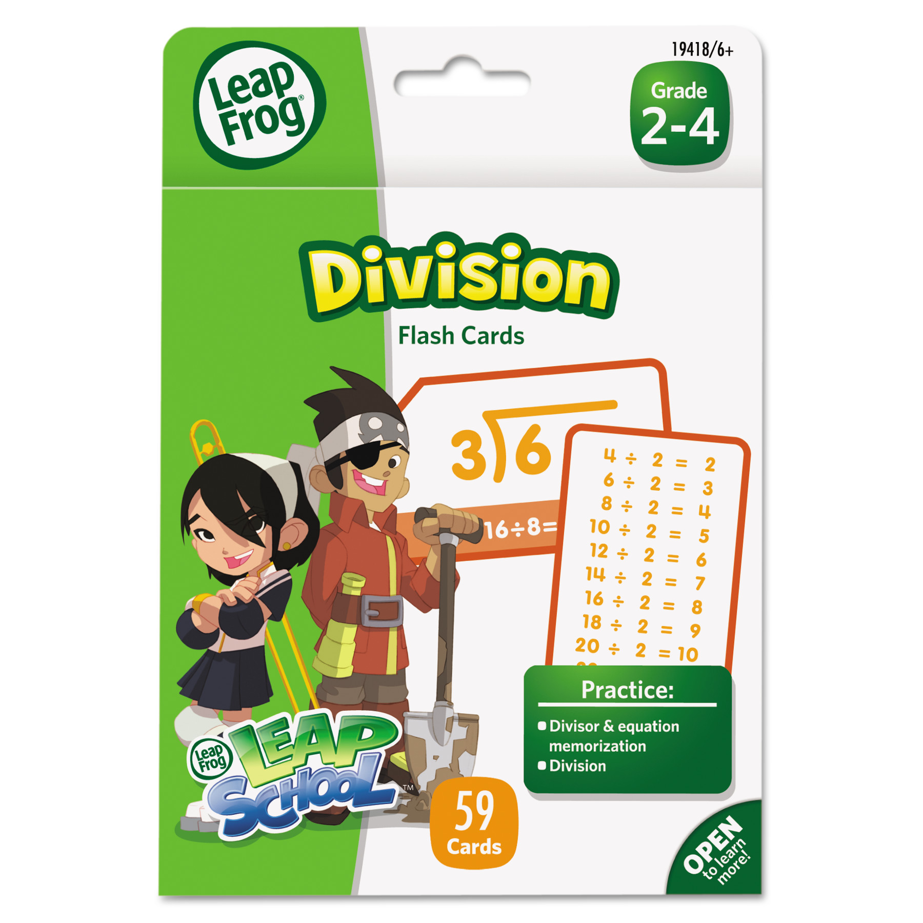 The Board Dudes LeapFrog LeapFrog Flash Cards, Division, 4 3/4 x 6, 55 Cards