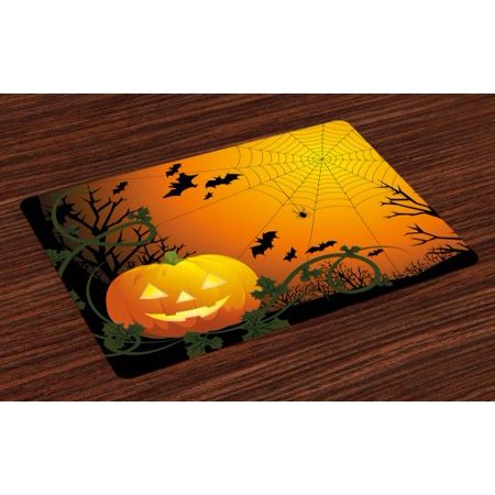 Spider Web Placemats Set of 4 Halloween Themed Composition with Pumpkin Leaves Trees Web and Bats, Washable Fabric Place Mats for Dining Room Kitchen Table Decor,Orange Dark Green Black, by Ambesonne](Halloween Theme 4)