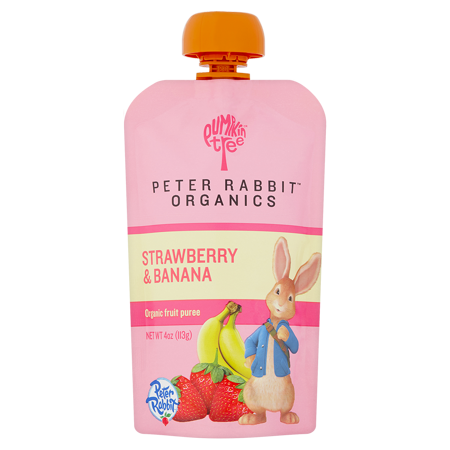 Peter Rabbit Organics Strawberry and Banana, 100% Pure Fruit Snack Baby Food, 4 oz, 10 count