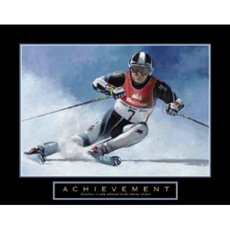 Acheivement Ski Race Skiing Motivational Art Print By T. C. Chiu - 28x22 Race Ski Reviews