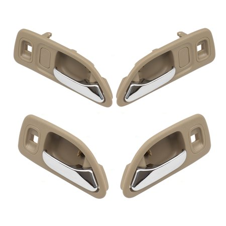 4 Piece Set of Inside Door Handles Chrome Lever w/ Beige Housing Replacement for Honda Accord Sedan Wagon w/ Power Locks