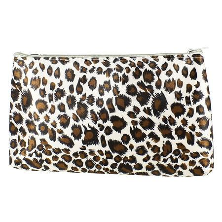 Unique Bargains Women Zippered Leopard Print Toiletries Cosmetic Makeup Holder Bag Black White Brown - Leopard Print Makeup Tutorial Halloween