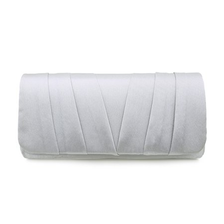 Elegant Classic Satin Pleated Satin Flap Clutch Evening Bag (Small Silver Handbag)