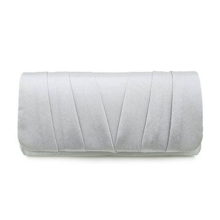 Elegant Classic Satin Pleated Satin Flap Clutch Evening Bag Handbag
