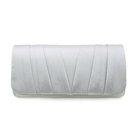 Pleated Handbag (Elegant Classic Satin Pleated Satin Flap Clutch Evening Bag Handbag )