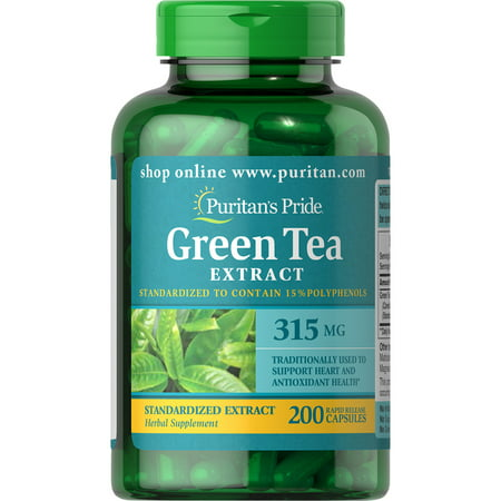 (2 Pack) Puritan's Pride Green Tea Standardized Extract 315 mg-200 (Best Green Tea Extract Pills)