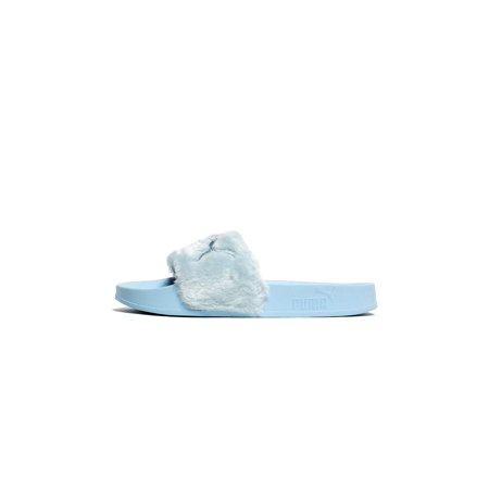 official photos bde5d 518d4 puma by rihanna fenty women's faux fur slide sandals cool blue bay 365772 01