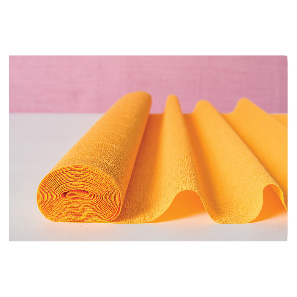 Premium Heavy Italian Crepe Paper Roll (20 Inches x 8 Feet, Marigold Yellow) - For DIY Projects, Table Runners, and Gift Wrapping