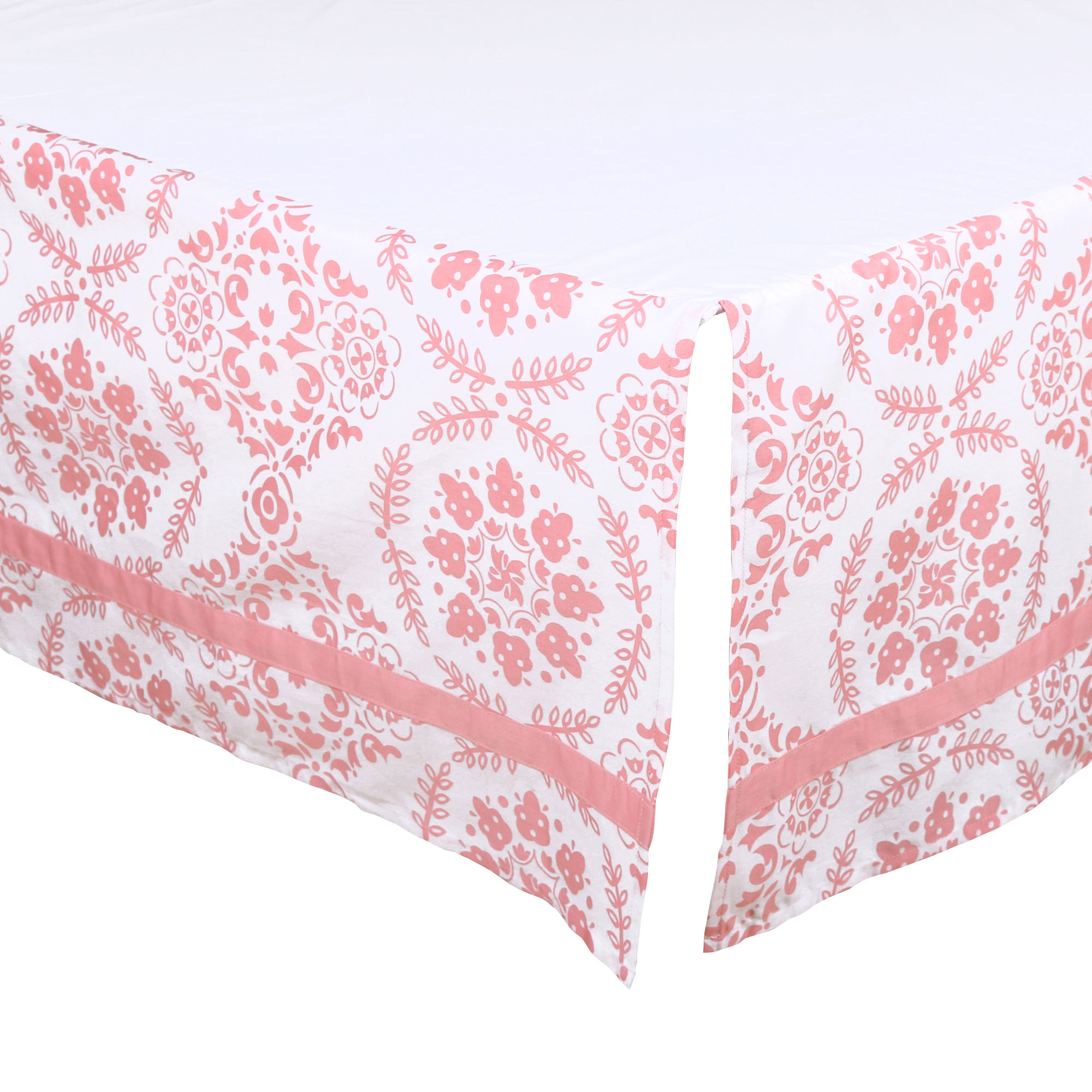 The Peanut Shell Tailored Crib Skirt - Coral Pink Floral Medallion Design - 100% Cotton Sateen 14 Inch Drop, Standard Crib