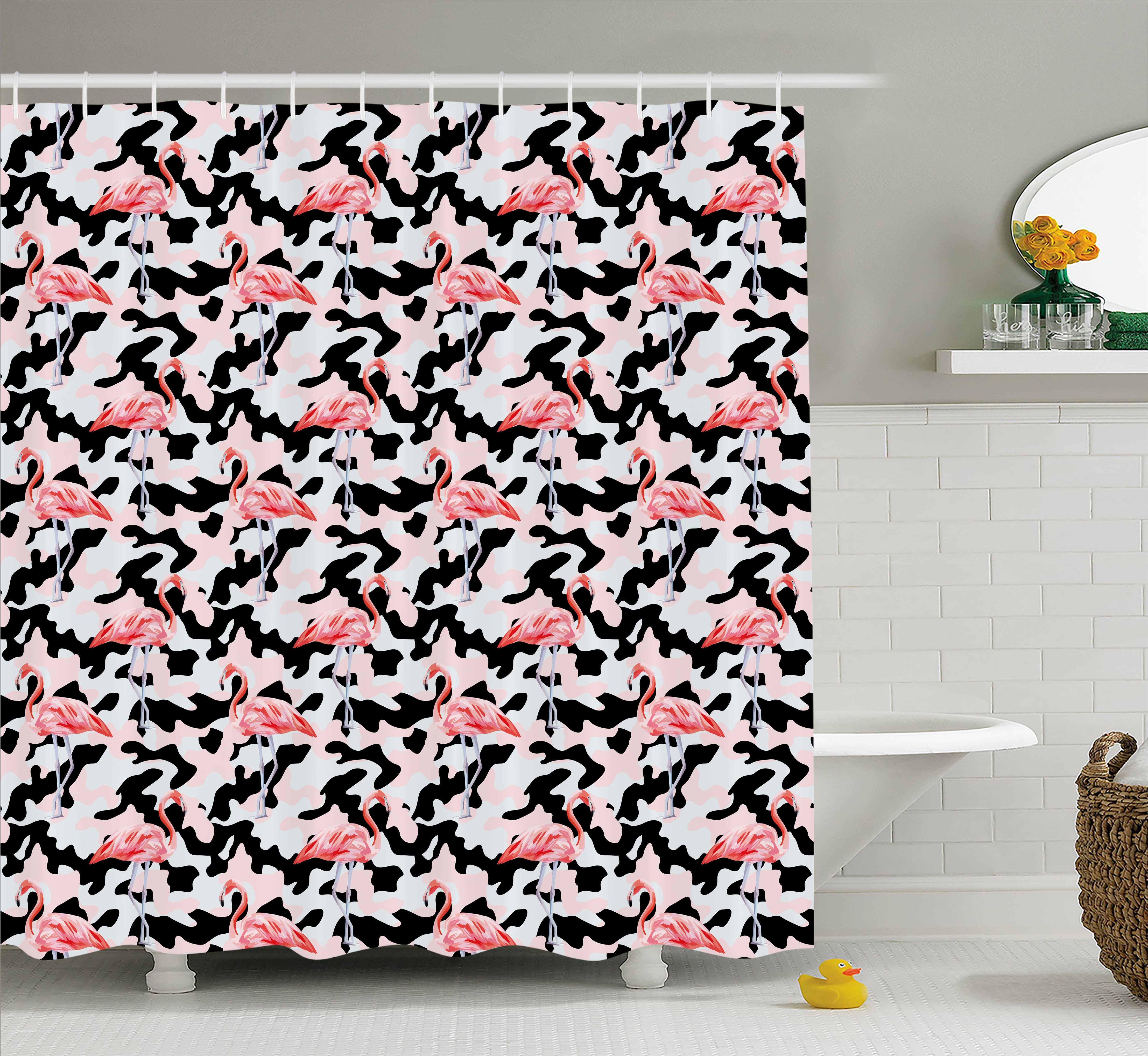 Camo Shower Curtain, Watercolor Pink Flamingo Print Camouflage Background Nature Inspired, Fabric Bathroom Set with Hooks, 69W X 75L Inches Long, Dark Coral Pale Pink Black, by Ambesonne