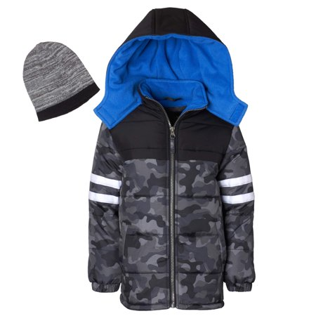 288209478 Hooded Camo Puffer Jacket Coat with Free Hat