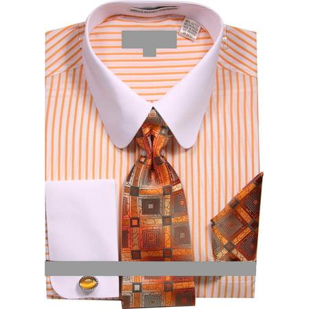 Men's Pinstripe Dress Shirt with Tie Handkerchief - Pinstripe Dress Shorts