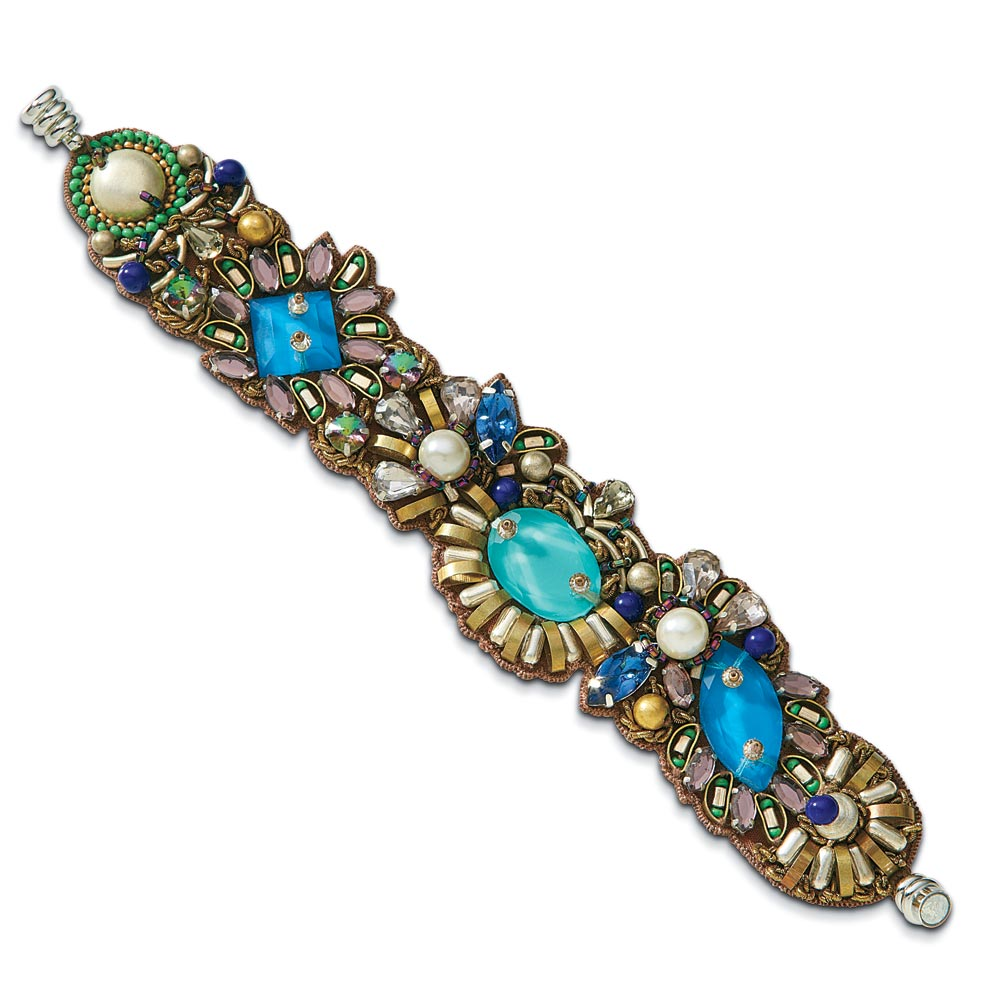 Women's Pacifica Blue Glass Beaded Silk And Brass Bracelet