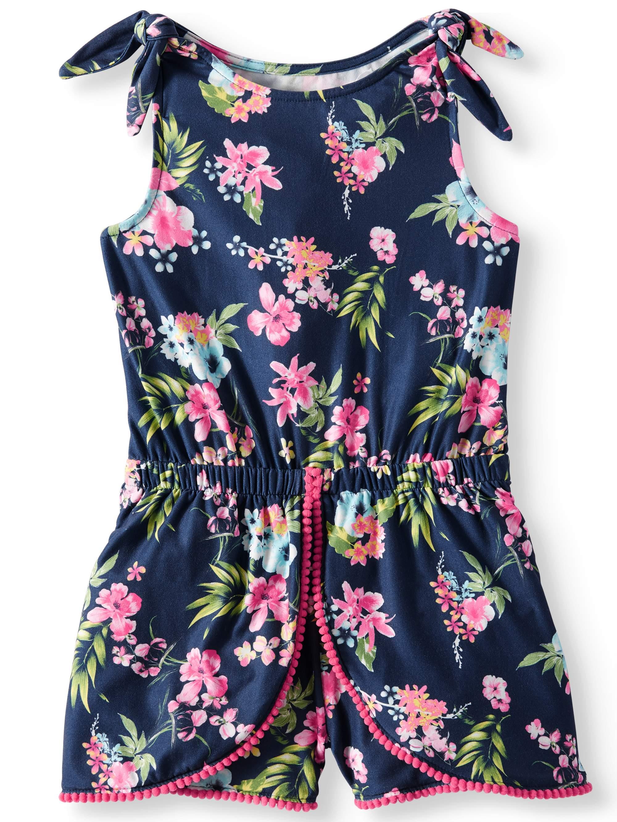 Tropical Tie Shoulder Romper (Little Girls)