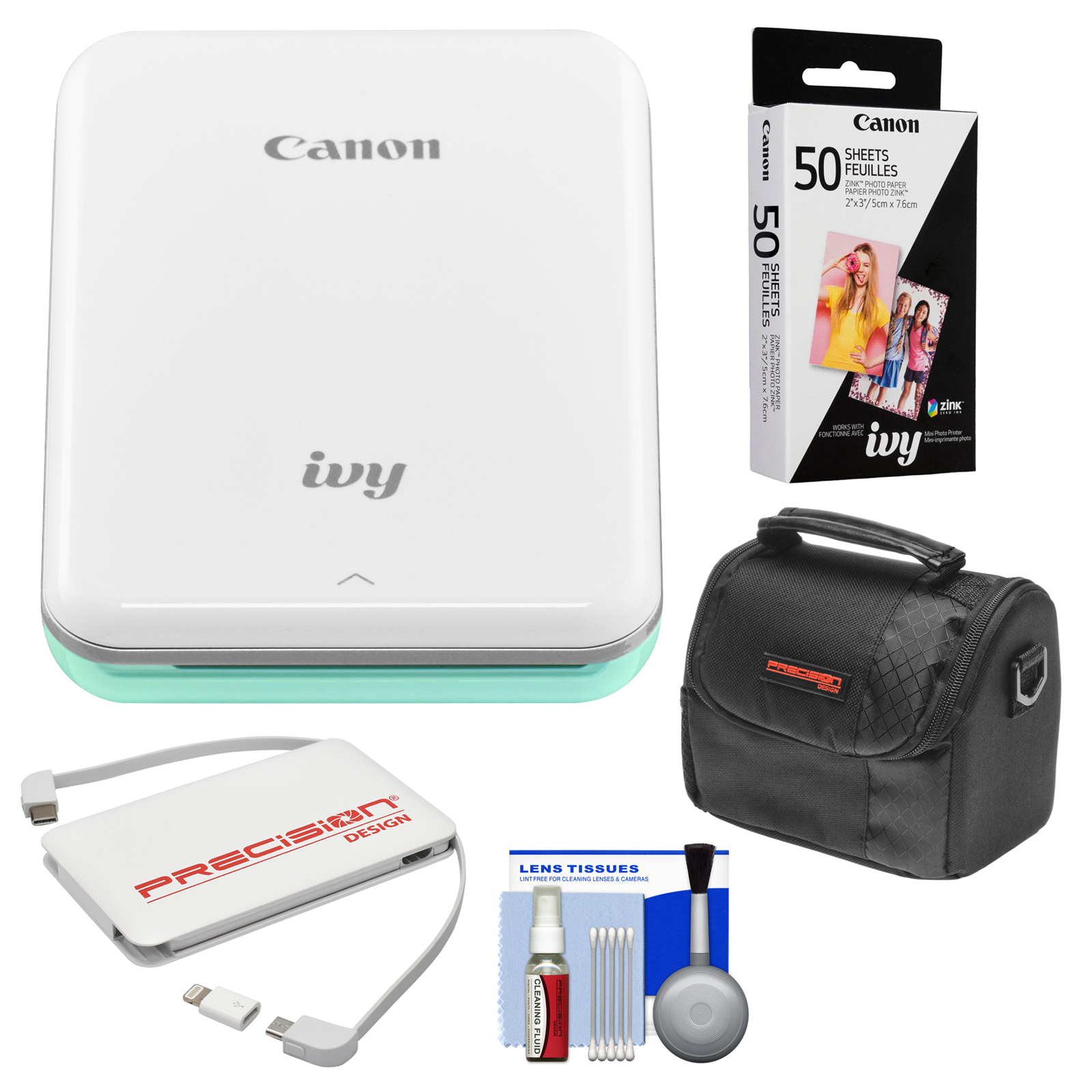 Canon IVY Wireless Bluetooth Mini Photo Printer (Rose Gold) with 50 ZINK Photo Paper Pack + Case + Charger + Kit