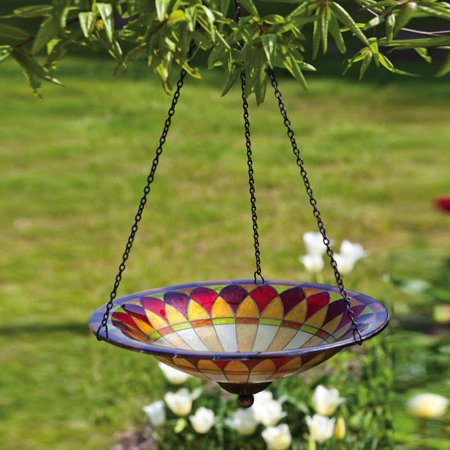 Glass and Metal Chain, Bird Bath Hanging Tiffany,11.5x11.5x21 Inches