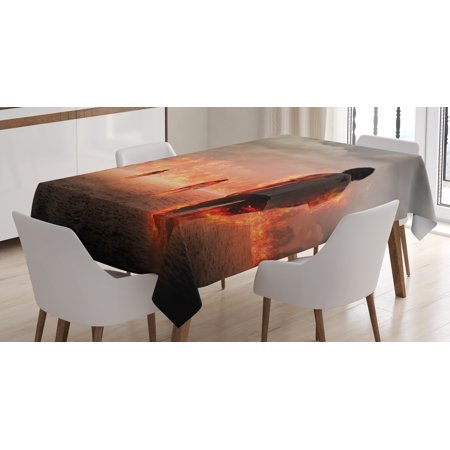 Zombie Decor Tablecloth  Group Of People In Flame In The Water Under Storm Clouds Image  Rectangular Table Cover For Dining Room Kitchen  52 X 70 Inches  Pearl Egg Shell Vermilion  By Ambesonne