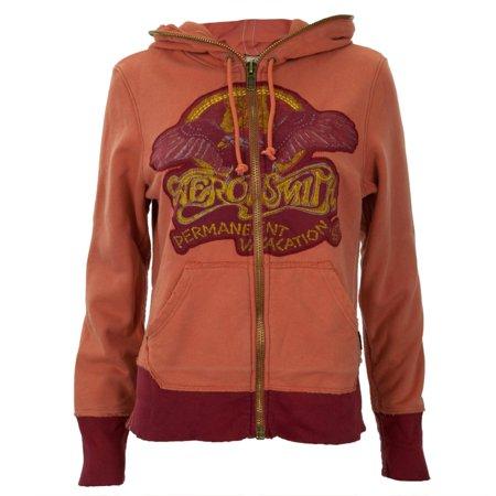 Aerosmith - Eagle Logo Orange Premium Juniors Zip - Orange Logo Hoodie