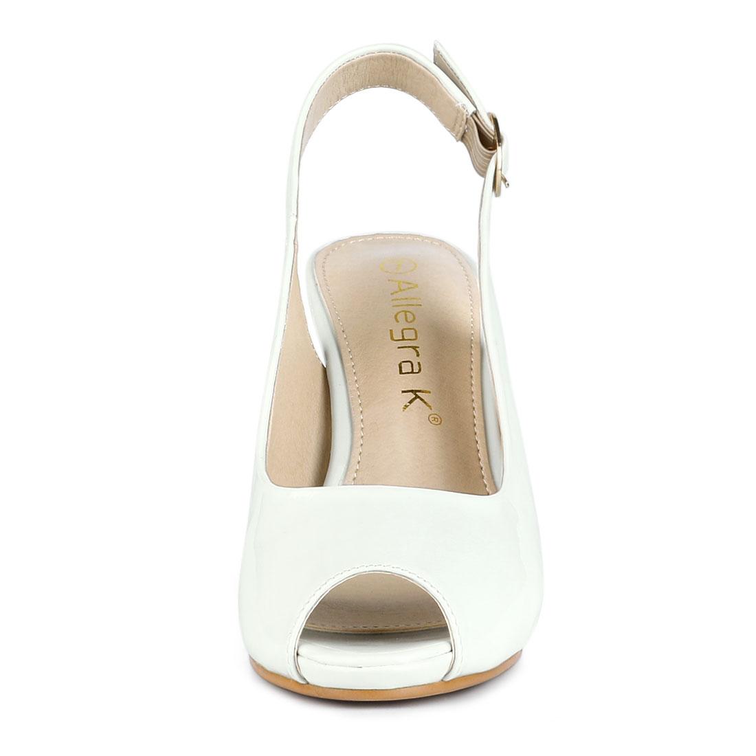 Women's Peep Toe Chunky Heel Slingback Pumps White US 8.5/UK 6.5/EU 40 - image 3 de 7