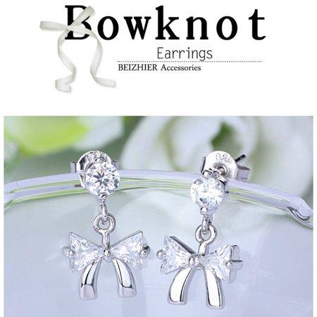 Zircon Bowknot Style Woman Lady Hypoallergenic Earrings Brief Ear Studs