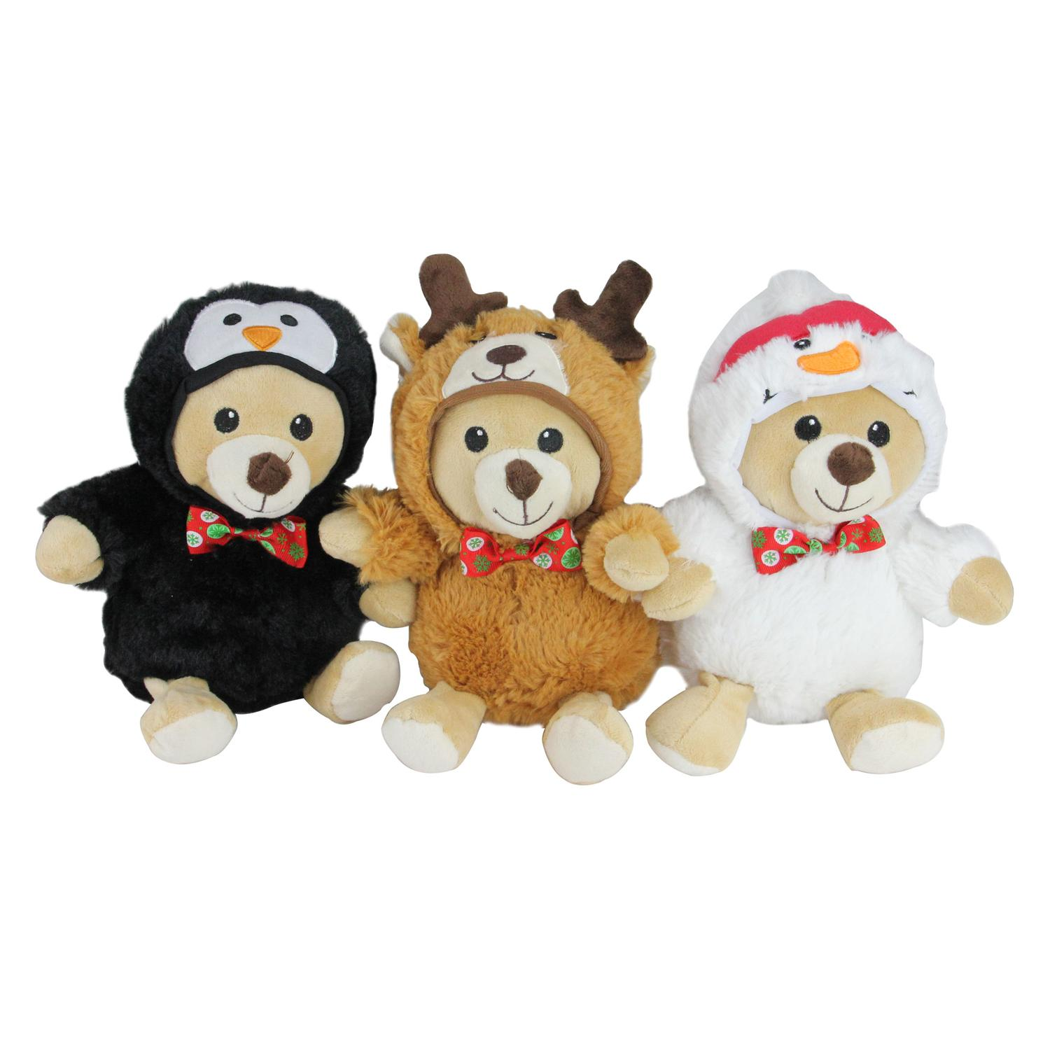 """Set of 3 Plush Teddy Bear Stuffed Animal Figures in Christmas Costumes 8"""" by Northlight"""