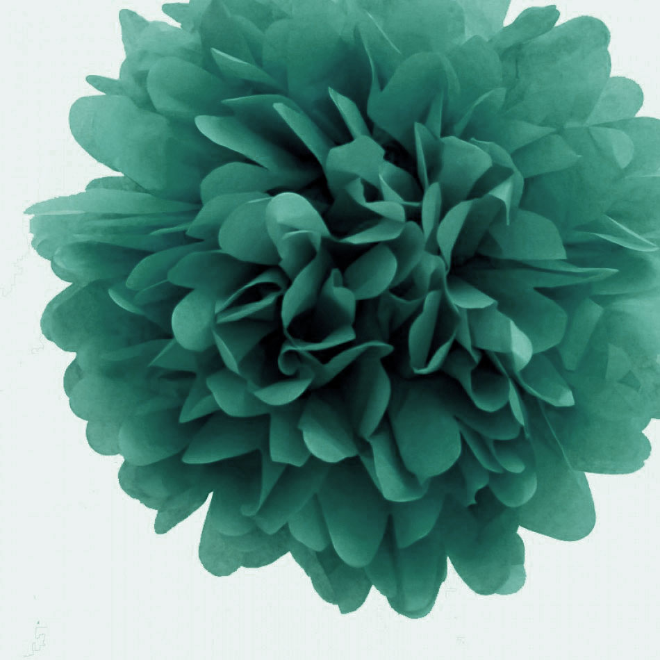 "16"" Teal Green Tissue Paper Pom Poms Flowers Balls, Hanging Decorations (4 PACK)"