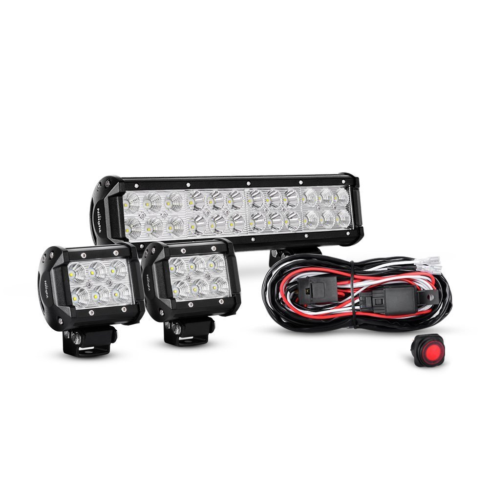 Nilight 12 Inch 72W Spot Flood Combo Led Light Bar 2PCS 4 Inch 18W Flood LED Fog Lights With Off Road Wiring Harness, 2 years Warranty