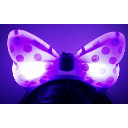 LWS LA Wholesale Store  1 LIGHT UP MINNIE MICKEY MOUSE BOWS POLKA DOTS HEADBANDS FAVOR PARTY EARS (Purple)](Minnie Mouse Ears Party City)