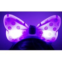 LWS LA Wholesale Store  1 LIGHT UP MINNIE MICKEY MOUSE BOWS POLKA DOTS HEADBANDS FAVOR PARTY EARS (Purple)