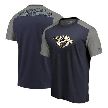 Nashville Predators Fanatics Branded Iconic Blocked T-Shirt - Navy/Heathered Gray