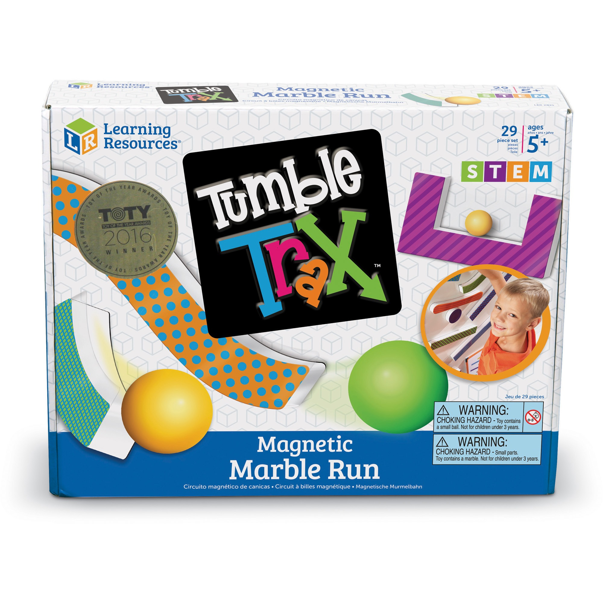 Learning Resources, LRN2821, Tumble Trax Magnetic Marble Run, 1 Set