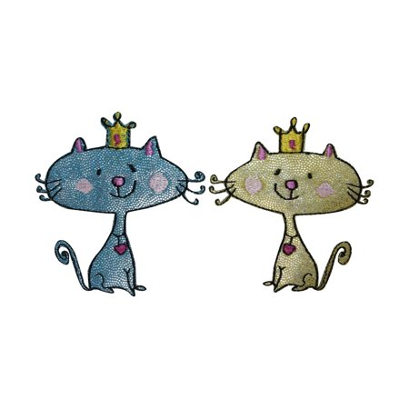 Kings Applique (ID 3039AB Set of 2 Cartoon King Queen Cat Patches Embroidered Iron On)