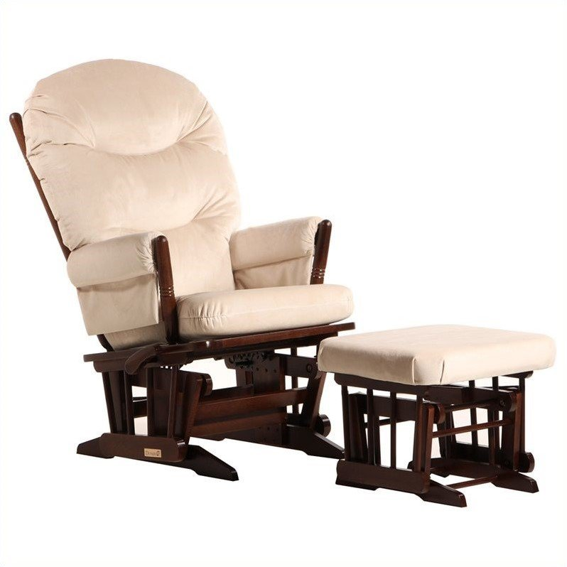 ULTRAMOTION by Dutailier 2 Post GliderReclinerMultiposition with Nursing Ottoman in CoffeeLight Beige