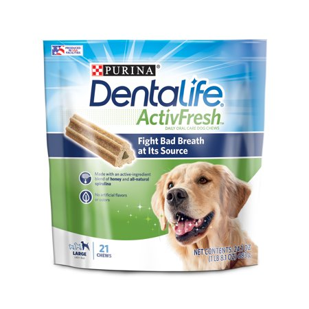 Purina DentaLife Large Breed Dog Dental Chews, ActivFresh Daily Oral Care Large Chews - 21 ct. Pouch