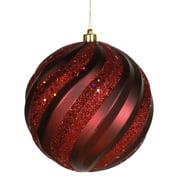"""Burgundy Glitter Swirl Shatterproof Christmas Ball Ornament 6"""" (150mm)"""