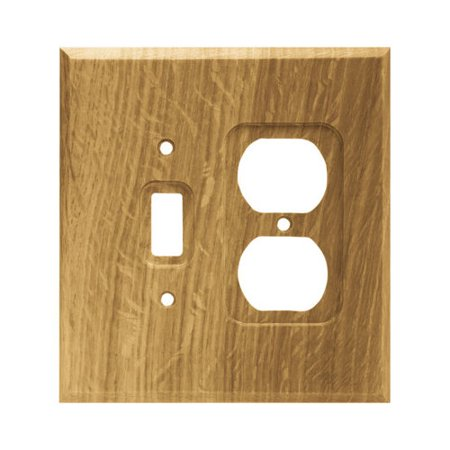 BRAINERD 64675 Wood Square Single Toggle Switch/Duplex Outlet Wall Plate / Switch Plate / Cover, Unfinished -