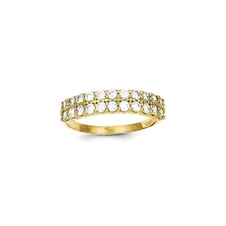 Solid 10k Yellow Gold Fancy CZ Cubic Zirconia Ring (1mm) - Size 8.5